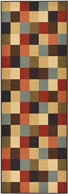 "Rubber Back Multicolor Checkered Squares Design Non-Slip (Non-Skid) Runner Rug 20"" x 59"" HMM5070"