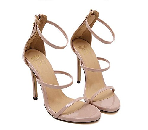 Pink sandals high buckle party Womens double stiletto size shoes barely heel there ladies strap BwvqOw1