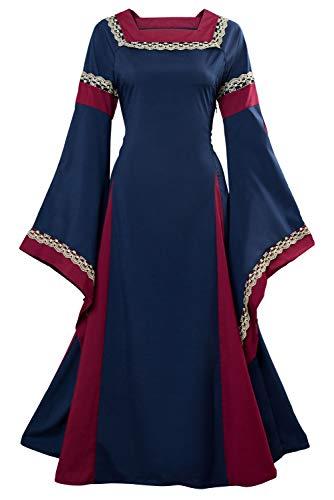 Womens Medieval Renaissance Dress Lace Up Vintage Floor Length Retro Gown Dress Black -