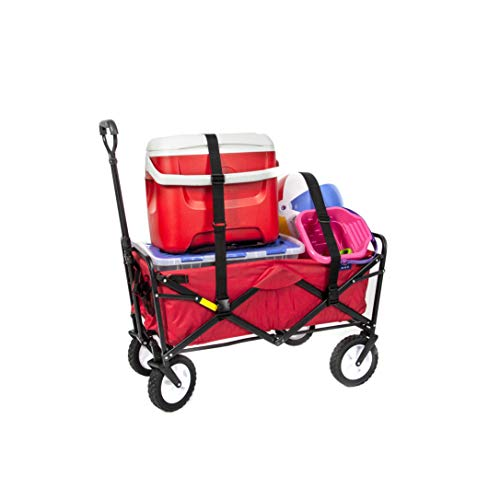 Mac Sports Collapsible Folding Outdoor Utility Wagon with Straps, Red