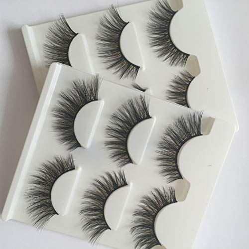 Sunniess Hair Imported Fiber 3D Mink False Eye lashes Handmade Reusable Long Cross Makeup Natural 3D Fake Thick Black EyeLashes 6 Pairs(3D-01)