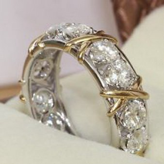 Pixel Jewelry 1985 - Eternity Diamonique CZ 10KT White&Yellow Gold Filled Wedding Band Ring (Gold Stock Jewelers)