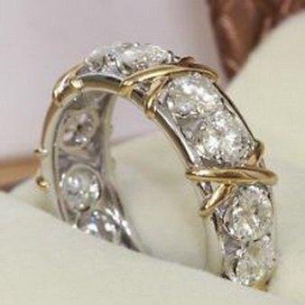 Pixel Jewelry 1985 - Eternity Diamonique CZ 10KT White&Yellow Gold Filled Wedding Band Ring Size7