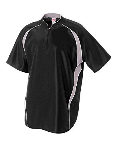 Adult 2XL Black/White 1/4 Zip Baseball/Softball Jacket