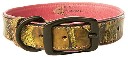 Tasmans Camouflage Bison & Pink Elk Leather Dog Collars (5/8
