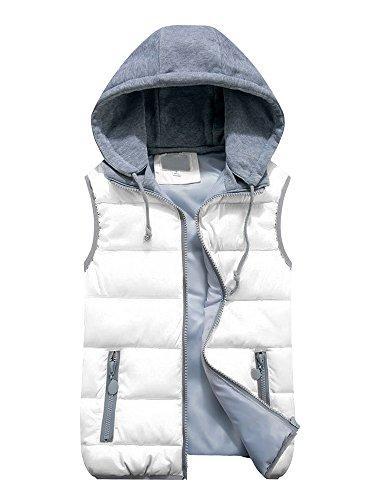 Couleur Vive Femme Epais Zip Ochenta Manches Automne Manteau Gilet Blanc Sans Capuche Casual Doudoune Hiver YdwfqB0