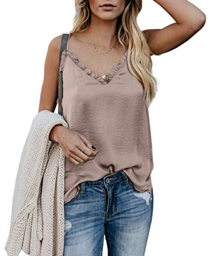 - Jug&Po Women's Button Down V Neck Strappy Tank Tops Loose Casual Sleeveless Shirts Blouses ((US4-6) Small, Y-Apricot)