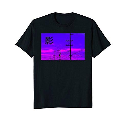 Vaporwave Sunset Power Telephone Line Night Shirt (Telephone Sunset)