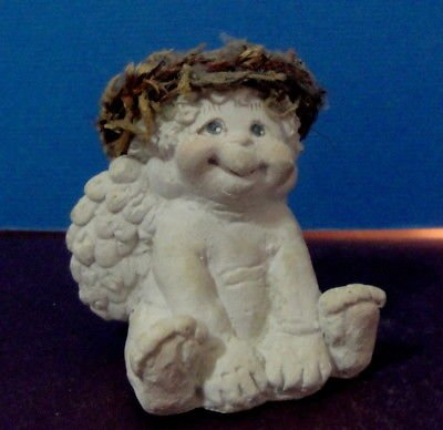 Kristen Dreamsicles by Cast Art Angel/Cherub Sitting with Pink Ribbon Figurine