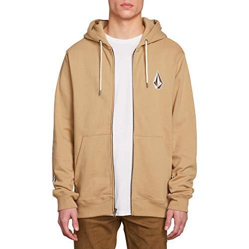 - Volcom Men's Deadly Stone Zip Up Hooded Sweatshirt, Sand Brown Large
