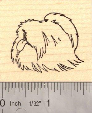Pekingese Dog Rubber Stamp, AKA Peke, Chinese Lion Dog, Pelchie