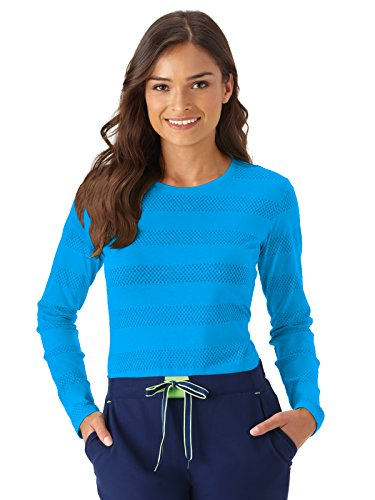 - Modern Fit Collection by Jockey Women's Burnout Long Sleeve T-Shirt Small Sea Blue