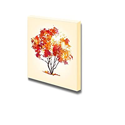 Canvas Prints Wall Art - Watercolor Style Abstract Autumn Tree | Modern Wall Decor/Home Art Gallery Wraps Giclee Print & Wood Framed. Ready to Hang - 24