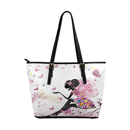 InterestPrint Women Totes Top Handle HandBags PU Leather Purse Flower Fairy ()