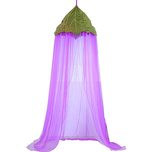Children Bed Canopy, Green Petal Round Dome, Purple Chiffon Net, Baby Indoor Outdoor Bed Canopy for Reading Room, Bed & Bedroom Decoration