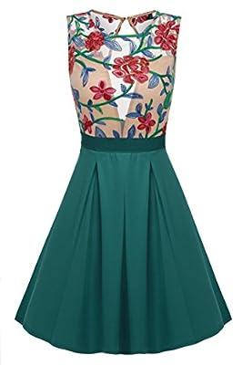 ACEVOG Women Floral Mini Skater Dress See-Through Party Evening Cocktail Dress