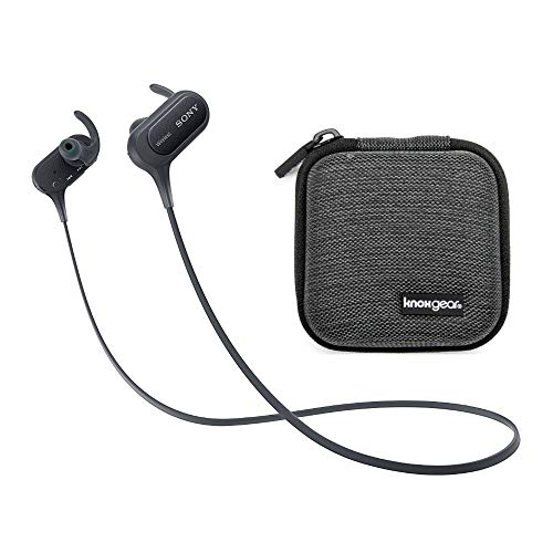 Sony XB50BS Extra BASS Sports Bluetooth in-Ear Headphones (Black) with Knox Gear Hard-Shell Earphone Travel/Storage Case Bundle (2 Items)