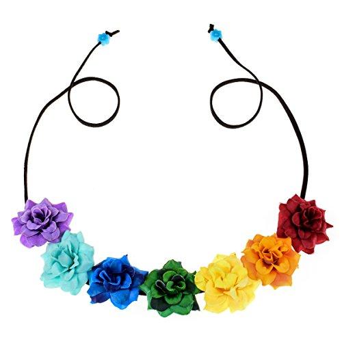 Floral Fall Festival Flower Crown Christmas headbands Wedding Headpieces F-58 (A-Rainbow)