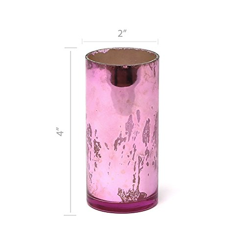 (Serene Spaces Living Antique Pink Cylinder Vase, Handmade Mercury Glass Finish, Measures 4