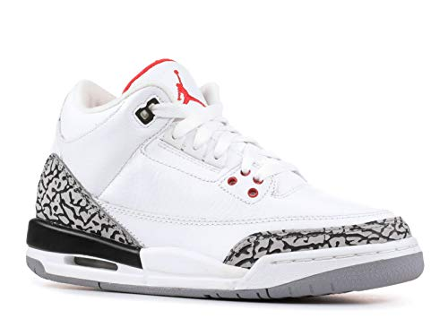 Nike Air Jordan 3 Retro (GS) Big Kids White/Fire Red-Cement Grey-Black Boys Shoes 398614-105-4