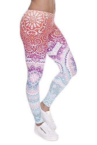 PINK PLOT Basic Printed Leggings Super Stretch Buttery Soft Pants for Women Girls One Size-Fit XS-L Aztec Round Ombre
