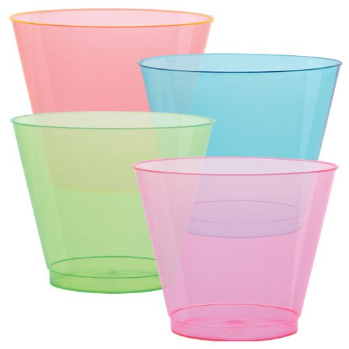 Hard Plastic Tumblers 9 oz. Party Cups/Old Fashioned Glass, 50 Count Drinking Glasses, Assorted Colors -
