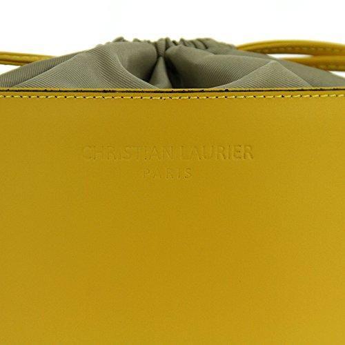 Christian Laurier - Sac à main en cuir modèle Gwen jaune - Sac à main haut de gamme fabriqué en Italie