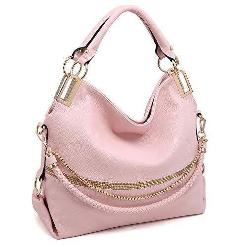 (Dasein Women Classic Large Hobo Bag Rhinestone Chain Shoulder Bag Top Handle Purse (1-7350 Pink))