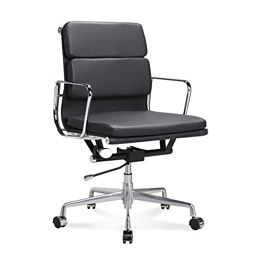 Artis Decor Soft Pad Low and High Back Executive Office Chair Made with Upholstered Genuine Italian Leather, Swivel and Polished Aluminium Frame - Low Back Black