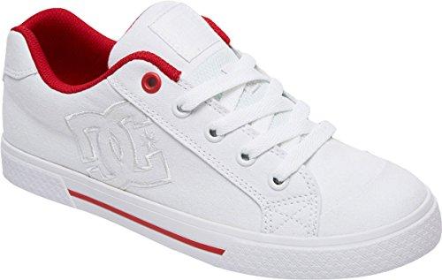 DC Women's Chelsea TX Skate Shoe, White/White/True Red, 9 B US