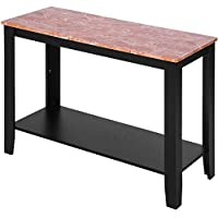 Merax Contemporary Open Shelf Black Sofa Table Faux Marble Console Table Entryway Furniture