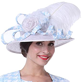 a98b519a3f74fb Kueeni Women Hats Feather Hats For Ladies White Sinamay at Amazon Women's  Clothing store: