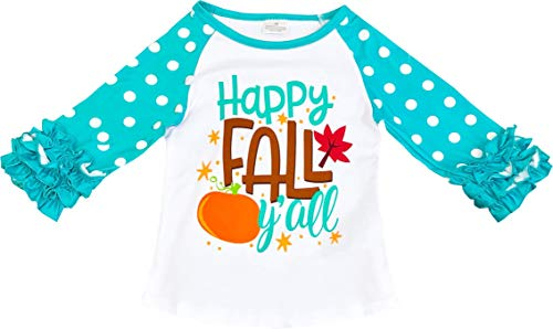 Angeline Boutique Clothing Girls Thanksgiving Happy Fall Y'all Aqua Raglan T-Shirt -