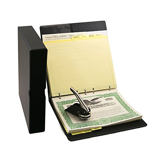 Blumberg Black Beauty LLC Kit with Limited Liability Company Records Binder, Company Seal, Printed Membership Certificates with Full-Page Stubs, Blank Minute Paper and More (Black)