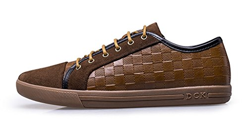 cheap sale with paypal discount shopping online Minitoo Men's Casual Fashion Lace Up Checkered Leather Sneaker Khaki cheap sale wholesale price cheap explore QHm70U