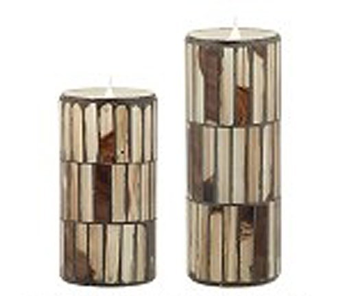 Solare 3D Virtual Flame Candles Set of 2 With Color-Hue Technology Distressed Mosaic