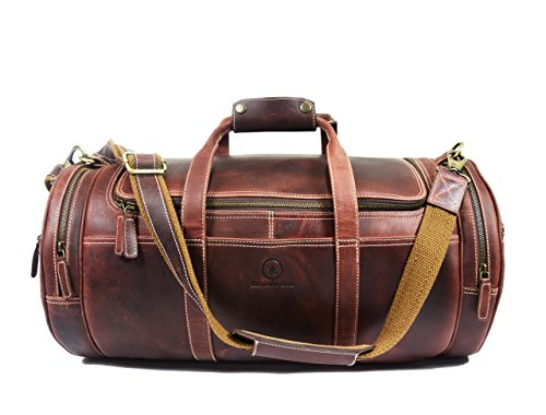 er Travel Duffle Barrel Bag With Adjustable Straps | Large Compartment Zippered Side Pockets Weekend Overnight Bag By Aaron Leather (Two Zippered Main Pockets)
