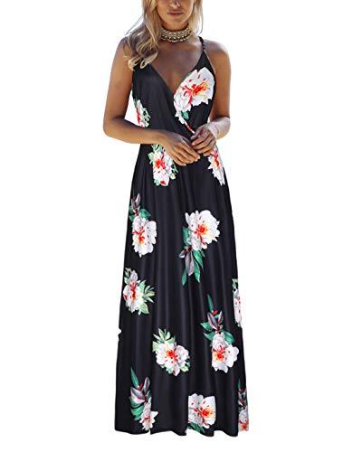 OUGES Womens Summer Deep V Neck Floral Adjustable Spaghetti Strap Beach Maxi ()