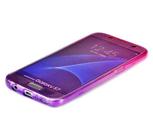 Funda tapa trasera para Galaxy S7 Edge, Vandot Funda 360 Doble Delantera + Trasera Transparente Silicona Gel Integral para Galaxy S7 Edge, Two Cristal Crystal Centelleo Cover Funda Caja del TPU Silico JBQB 02