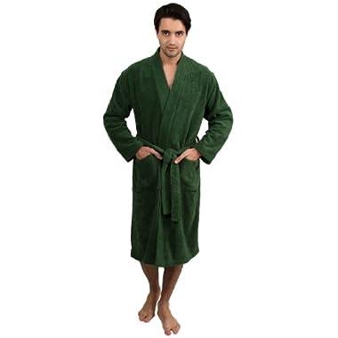 TowelSelections Men's Robe, Turkish Cotton Terry Kimono Bathrobe Small/Medium Green