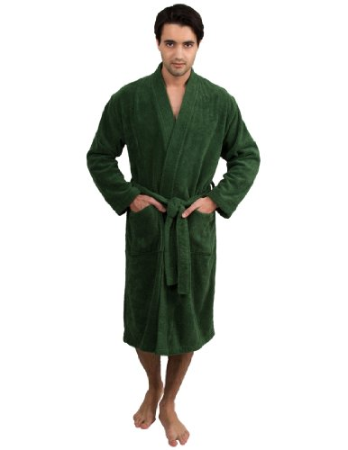 TowelSelections Men's Robe, Turkish Cotton Terry Kimono Bathrobe X-Large/XX-Large Green (Male Robes)
