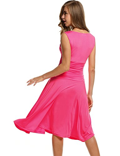 Neck Waist Women's Slimming Sleeveless Dress pink Beyove Crossover V Ruched Swing Style1 AWtSAq6w