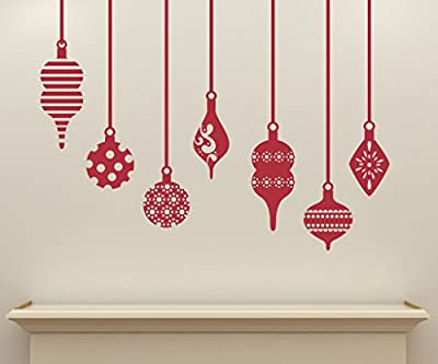 Set of (7) Retro Decorative Ornaments Removable Vinyl Decal - Perfect Holiday and Christmas stickers for Walls, Windows, Storefronts, and Offices
