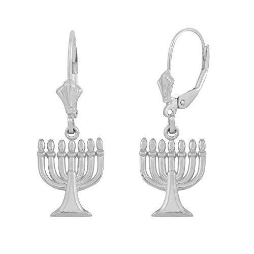 Polished 925 Sterling Silver Jewish Menorah Leverback Earrings Menorah Ring