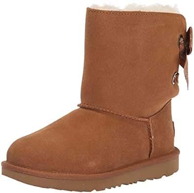 UGG Girls' K Customizable Bailey Bow II Fashion Boot, Chestnut, 5 M US Big Kid