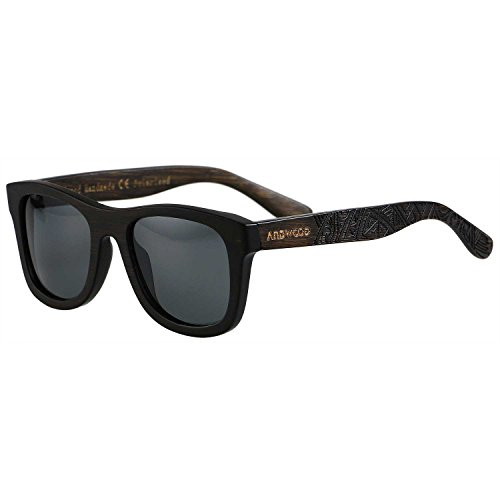 af7d38bc981 Galleon - ANDWOOD 100% Bamboo Wood POLARIZED Unisex Sunglasses Wayfarer  Style That Floats