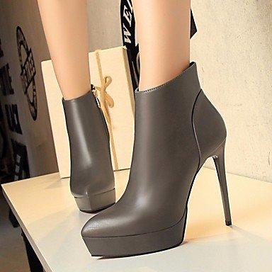 pwne Tacones mujer Primavera Club zapatos casual PU Borgoña gris Negro negro US8 / UE39 / UK6 / CN39