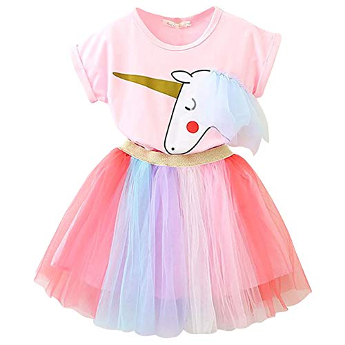 Girl Unicorn Rainbow Outfit Dress, Tulle Tutu Skirt Outfit Sets, Unicorn T-Shirt Birthday Party Costumes (White, M/2-4Years)