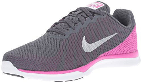 NIKE Women's in-Season TR 6 Cross Training Shoe, Dark Grey/Metallic Platinum/Force Pink/Clear Grey, 9.5 B(M) US (Nike Shoes Lifting)