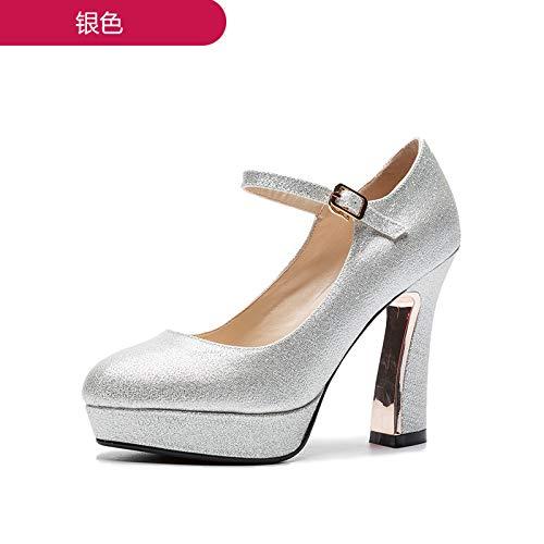 MLGSDW Weibliche Braut Schuhe Schuhe Braut Schnallen High Heels Wasserdichte Rough10 Cmthirty-Ninesilver (11 cm) - 9c5bb5